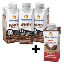Kit 3 Piracanjuba Whey Cacau + Bebida Quinoa Chocolate 200ml -