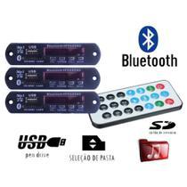 Kit 3 Placa P/ Amplificador - Modulo Usb Mp3 Bluetooth Pasta - Agf Imports