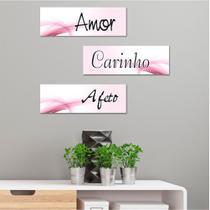 Kit 3 Placas Decorativas Amor Carinho Afeto - Prego e martelo