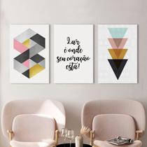 Kit 3 Placas Decorativas Quadros Geométrica Colorida - Arte Quadro