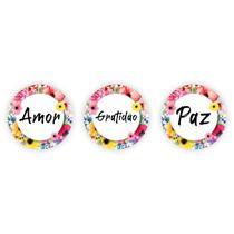 Kit 3 Placas Decorativas Redondas Frases Amor Gratidão Paz Floral Sala Quarto Corredor 30x30cm MDF - Artesania