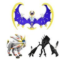 "Kit 3 Pokémons Lendários 12"" Solgaleo + Lunala + Necrozma DTC - 4845 -"