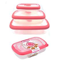 Kit 3 potes com tampa para mantimentos alimentos frutas geladeira freezer microondas Sanremo Flor -