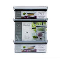Kit 3 potes herméticos - porta tudo fresh + porta frios bpa free - organizadores de geladeira - Paramount