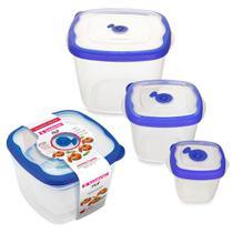 kit 3 potes mantimentos alimentos frutas comida marmita vasilha marmitex tapoer tapuer sanremo flor -