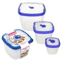 kit 3 potes para mantimentos com tampa freezer geladeira microondas vasilha plástica sanrem flor - Sanremo