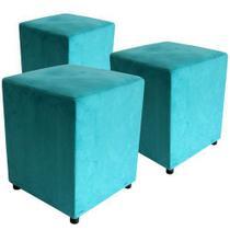 Kit 3 puffs decorativo suede azul turquesa-rafadecor- -