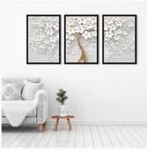Kit 3 Quadros Árvore Cerejeira Branca Flores 40x60 60x40 cm - Khameodecor