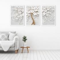 Kit 3 Quadros Árvore Cerejeira Branca Flores - Khameodecor