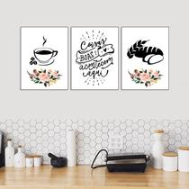 Kit 3 Quadros Café e Pão Cozinha Branco 20x30cm Decorativo Cantinho Gourmet - D.Lima produtos
