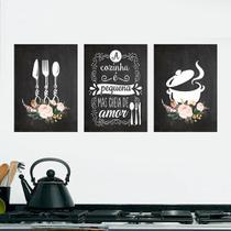 Kit 3 Quadros Cozinha Panela e Talheres 20x30cm Decorativo Cantinho Gourmet - D Lima produtos