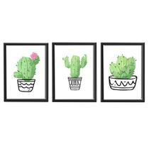 Kit 3 Quadros Decorativo Preto Com Poster Tema Cactus 48 x 35 cm - Decoramix