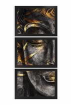 Kit 3 Quadros Decorativos C/ Moldura Buda Folhas Douradas - Fourdec