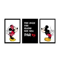 Kit 3 Quadros Decorativos Com Moldura Para Sala Quarto Casal Mickey e Minnie - Pri D'Cora