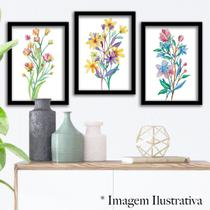 Kit 3 Quadros Decorativos Flores Aquarela - Tamanho A3 - Premium - Clube Dos Quadros