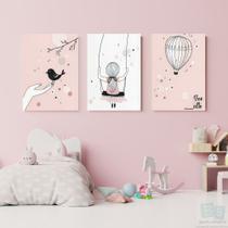 Kit 3 Quadros Decorativos infantil  menina voe alto 20x28 - BS QUADROS DECORATIVOS