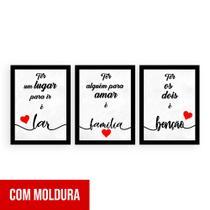 Kit 3 Quadros Decorativos Lar/ Família/ Benção - Quero Mais Quadros