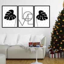 Kit 3 Quadros Decorativos Love Folhas Tropicais Pretas - Quadros On-Line