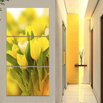 Kit 3 Quadros Vaso Tulipas Amarelas Flores Mosaico Para Sala - Decorestudio