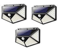 Kit 3 Refletor Luminária Solar 100 Leds Parede Jardim Piscina Sensor Movimento 3 Modos -
