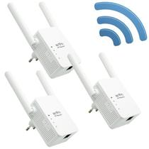 Kit 3 Repetidores Sinal Wireless Wifi 300 Mbps Wps Extensor Amplificador 2,4Ghz 2 Antenas Bivolt - Exbom