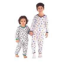 Kit 3 roupas de dormir estilosa algodão estampado calça cós elástico blusa manga longa moda infantil - Juan Kids
