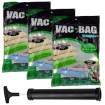 Kit 3 Saco a Vácuo Vac Bag Organizador Extra Grande Protetor Para Roupa Edredom 80x100cm + Bomba - Ordene