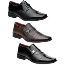 Kit 3 Sapatos Torani Sociais Masculinos Del Greco -