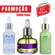 Kit 3 Serum Facial Para Clarear Marcas + Detox + Colageno Skin Care Vegano Antioxidante Max Love -