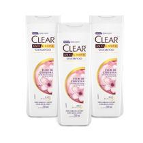 Kit 3 Shampoos Anticaspa Clear Women Flor de Cerejeira 200ml - Leve 03 Pague 02 -