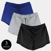 Kit 3 Shorts Canelado Fashion Feminino - Part.B