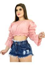Kit 3 Shorts Jeans Luxo Feminino Cintura Alta Destroyed  : ) - Fort Moda