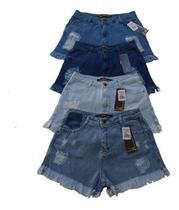 Kit 3 Shorts Jeans Luxo Feminino Cintura Alta Destroyed Hot Pants Detonado Desfiado - Fort Moda