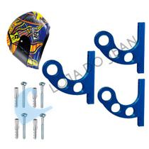 Kit 3 Suporte De Parede Pendurar Capacete E Acessórios Azul - Jean