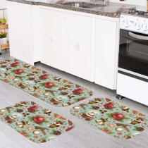 Kit 3 Tapetes Cozinha Elementos Natalinos Classicos - Love Decor