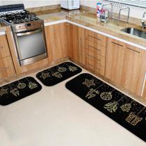 Kit 3 Tapetes de Natal para Cozinha Elementos Natalinos Dourado - Love Decor