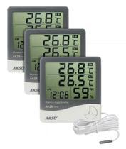Kit 3 Termo higrômetro Digital Com Sensor Externo E Relógio - Akso