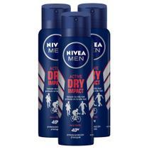 Kit 3 UN Desodorante Antitranspirante Aerosol Nivea Men Dry Impact 150ml -