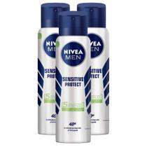Kit 3 UN Desodorante Antitranspirante Aerosol Nivea Men Sensitive Protect 150ml -
