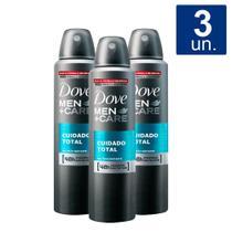 Kit 3 UN Desodorante Dove Men + Care Cuidado Total Aerosol Antitranspirante 48h 150ml -