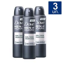 Kit 3 UN Desodorante Dove Men + Care Sem Perfume Aerosol -