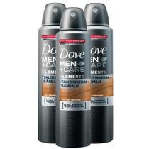 Kit 3 UN Desodorante Dove Men + Care Talco Mineral+Sandalo Aerosol Antitranspirante 48h 150ml -
