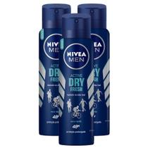 Kit 3 UN Desodorante Nivea Men Active Dry Fresh Aerosol Antitranspirante 48h 150ml -