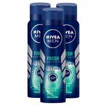 Kit 3 UN Desodorante Nivea Men Fresh Active Aerosol 48h 150ml -