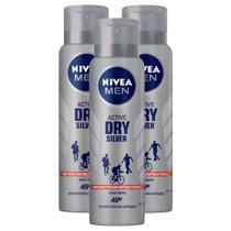 Kit 3 UN Desodorante Nivea Men Silver Protect Antibacteriano Aerosol Antitranspirante 48h 150ml -