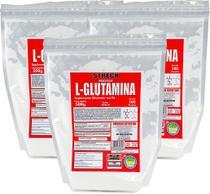 Kit 3 Un. L-Glutamina Pó 1,5Kg 100% Pura Acomp. Laudo Físico - Strech Muscle
