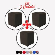 Kit 3 un Puff Quadrado Box Decorativo e-Shop Casa - Suede Marrom -