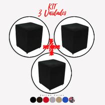 Kit 3 un Puff Quadrado Box Decorativo e-Shop Casa - Suede Preto -