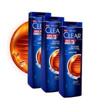 Kit 3 UN Shampoo Clear Men Queda Control 200ml -