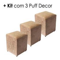 Kit 3 unidades Puff Quadrado Box Decorativo Suede - Bege - E-Shop Casa